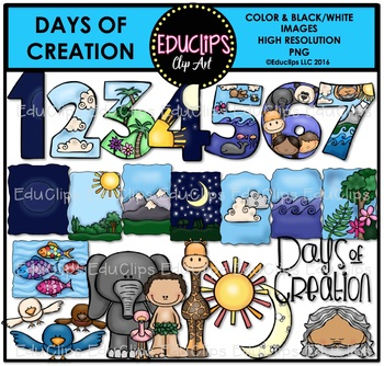 Days of clip art. Creation clipart