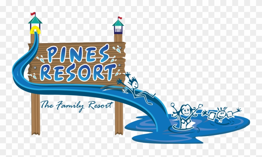 Cropped pines resort logo. Creation clipart colour