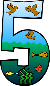 Number clip art vector. Creation clipart day 5