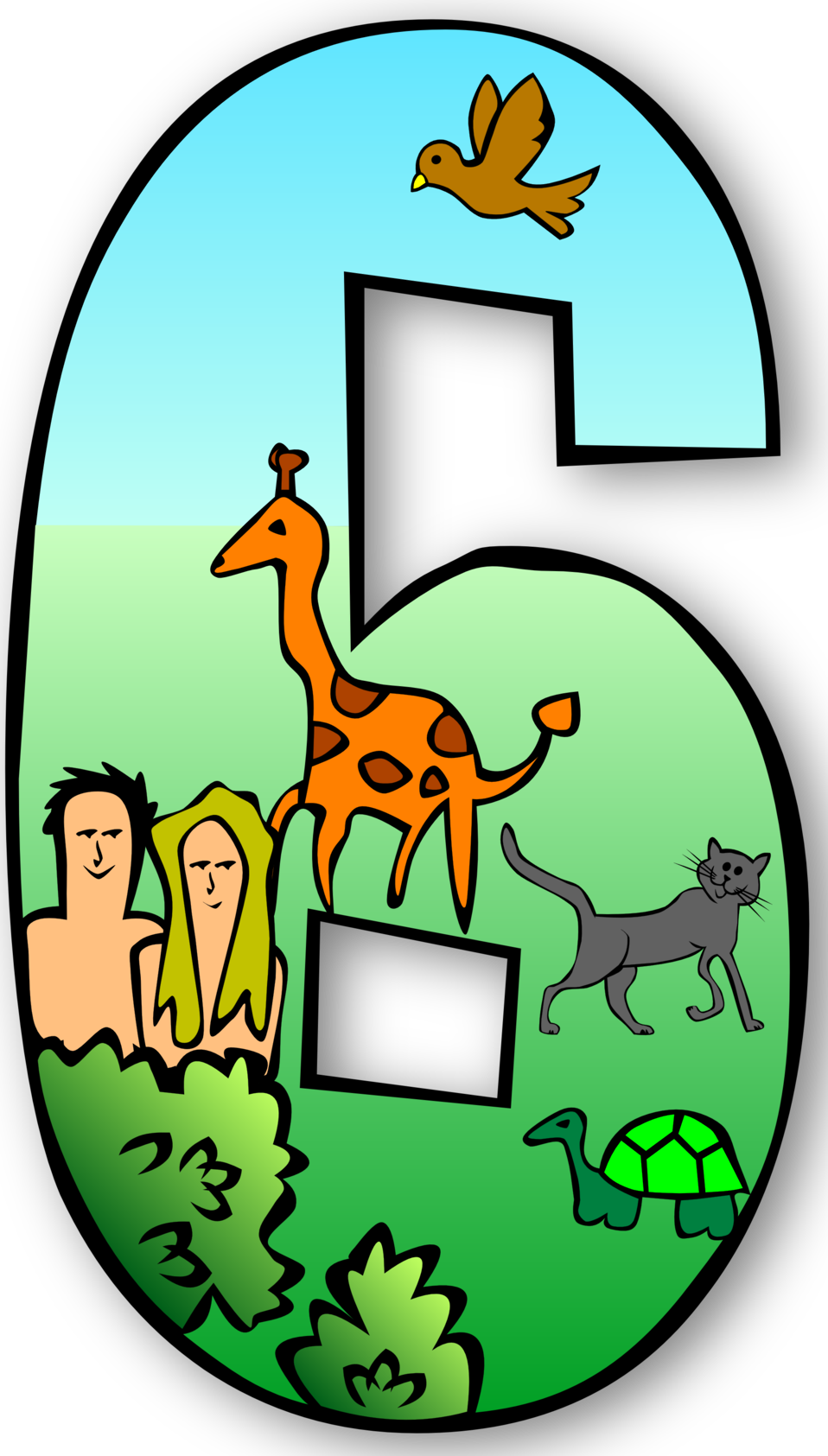 Number 6 clipart creation number. Public domain clip art