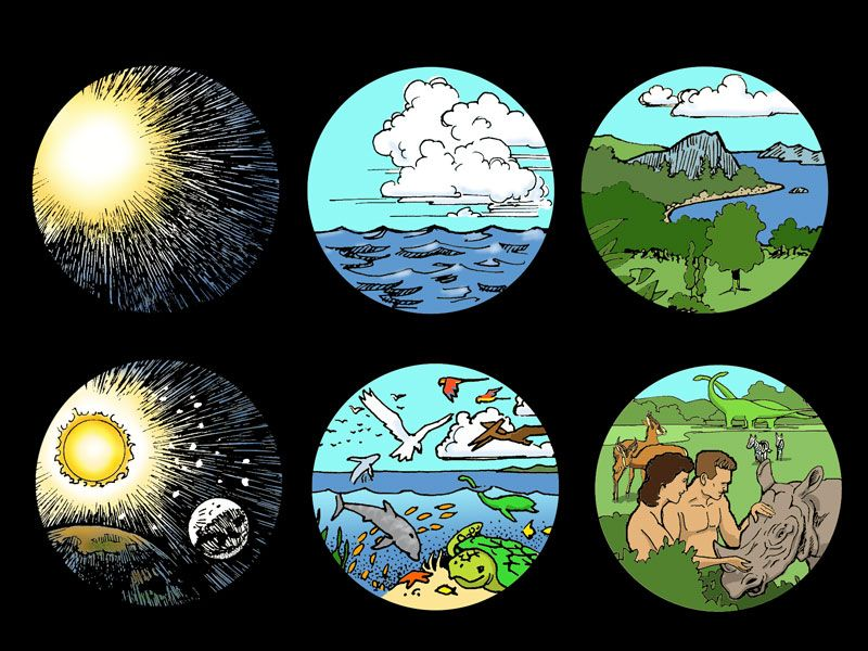 Days of bible . Creation clipart sequence