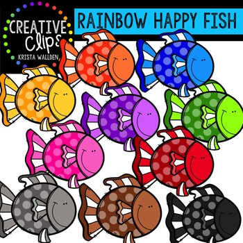 Creative clipart. Free rainbow happy fish