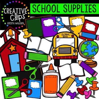 Creative clipart. School supplies clips tpt