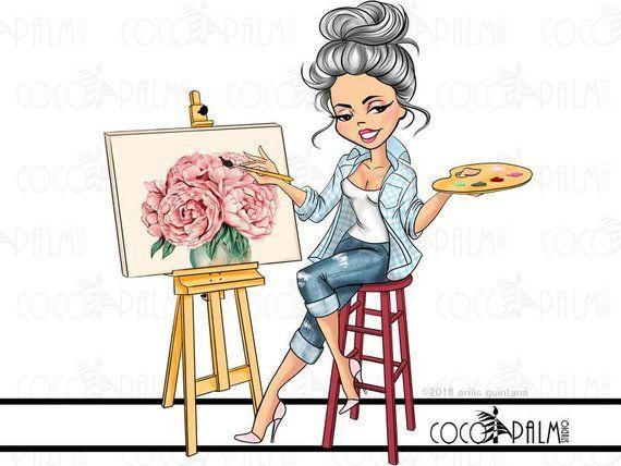 Easel clipart artistic girl. Fashion artist clip art