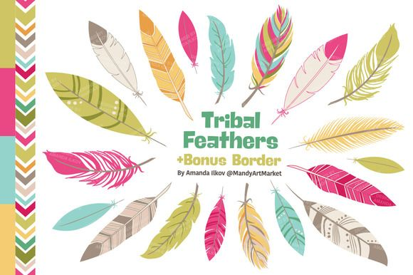 Feathers vectors by amanda. Creative clipart bohemian feather