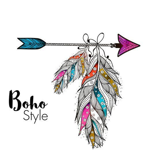 Drawing arrow and ethnic. Creative clipart bohemian feather