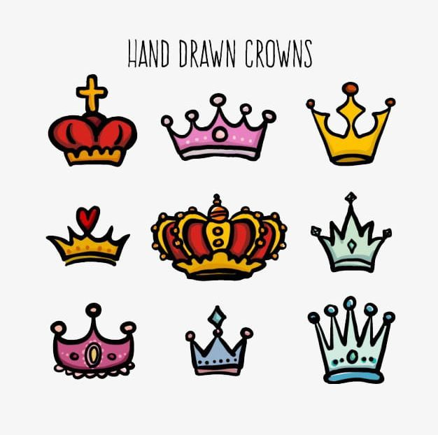 Crown clipart colorful. Hand colored creative cute