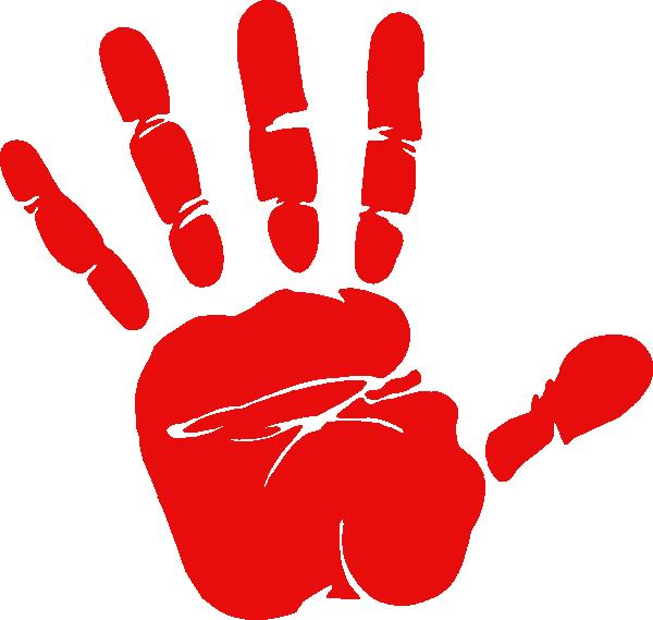 Handprint clipart cartoon. Red hand print clip