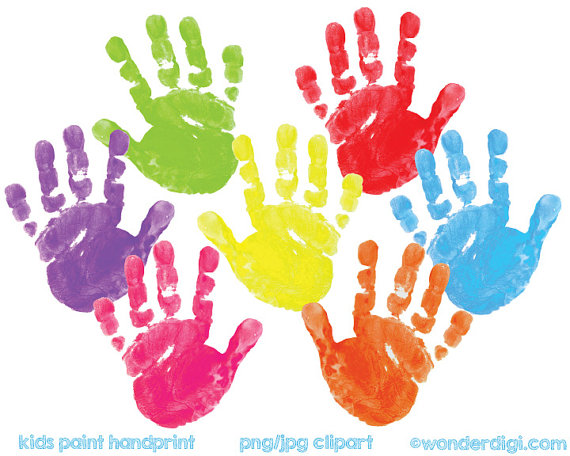Kids painted clip art. Handprint clipart paint