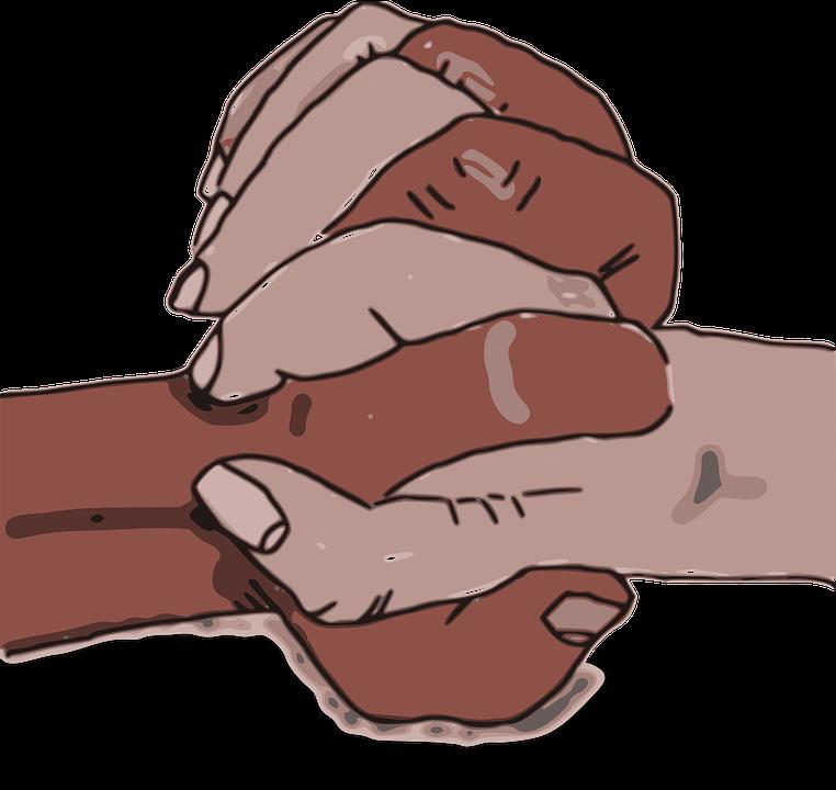 Ethnically diverse hands reach. Friend clipart ethnic