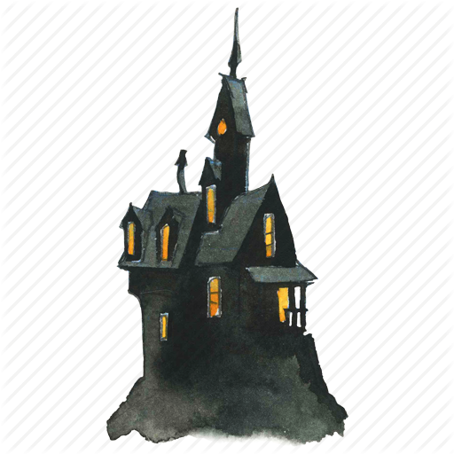 Creepy house png. Watercolor halloween by lanan