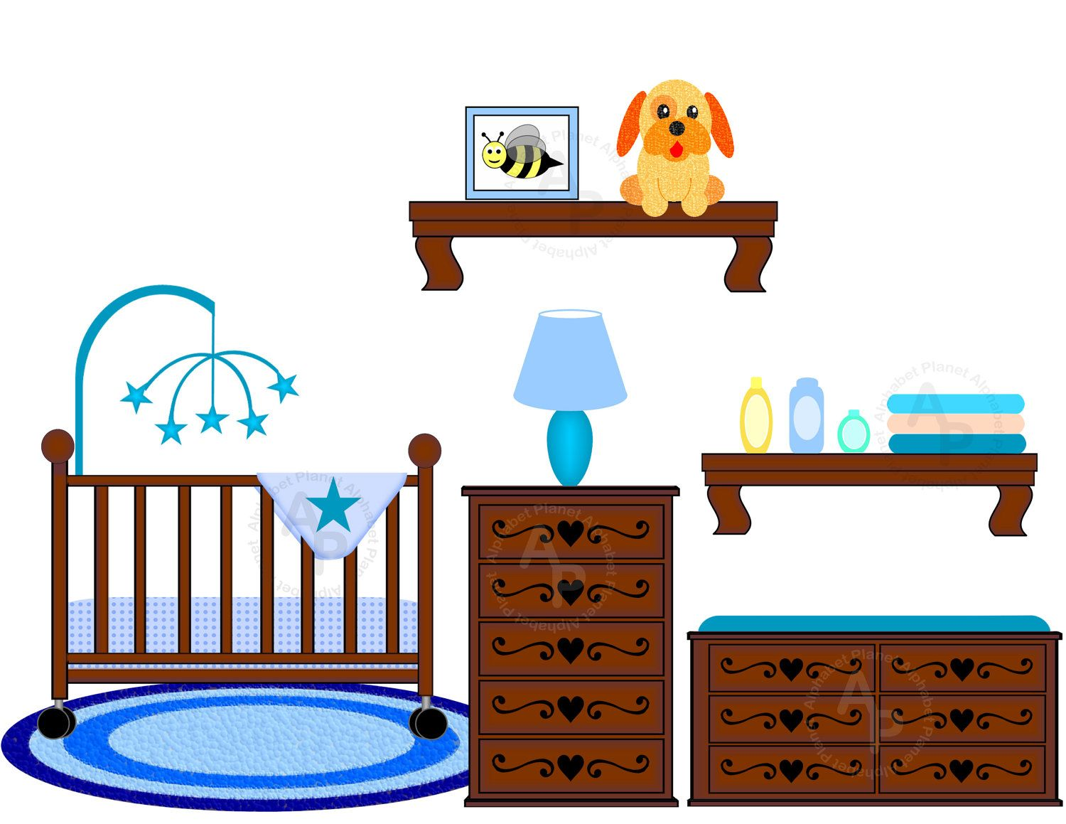 Crib clipart. Baby boy nursery changing