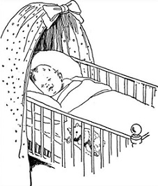 Free baby with sleeping. Crib clipart