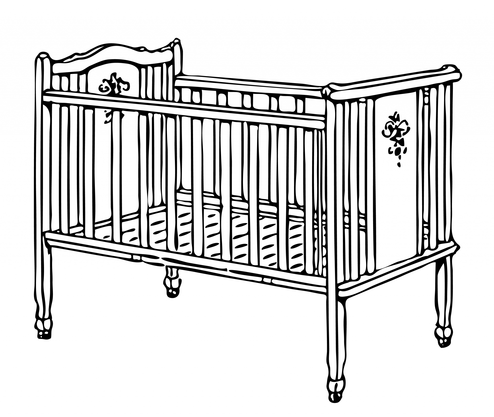 Cot illustration free stock. Crib clipart