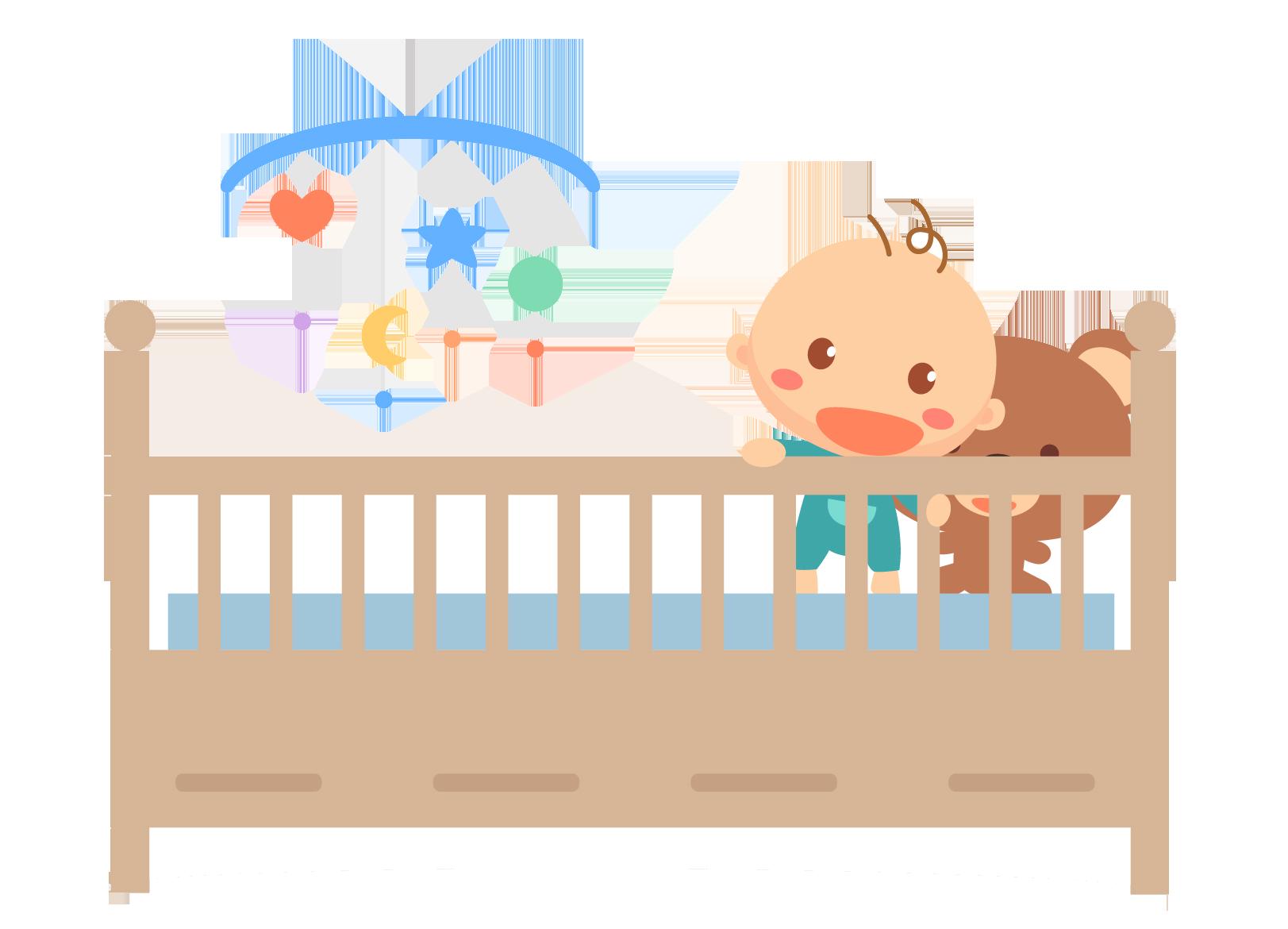 Cartoon infant illustration wooden. Furniture clipart child bed