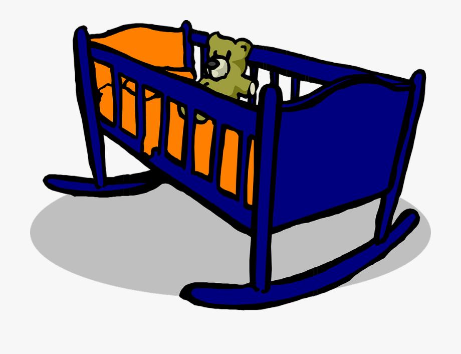 Crib cradle blue teddy. Pillow clipart baby pillow