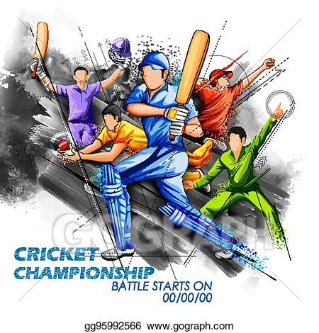 Vector art batsman and. Cricket clipart cricket champion