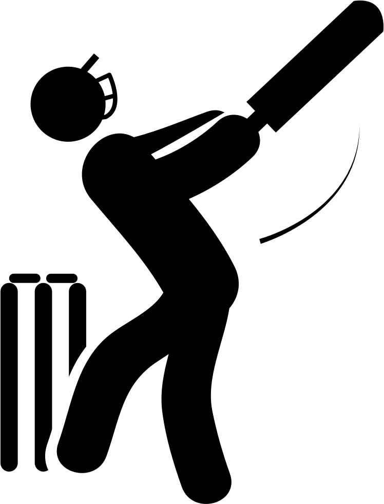 Cricket Player With Bat Svg Png Icon Free Download