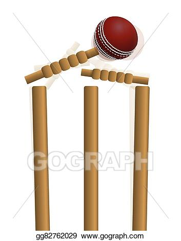 Cricket clipart cricket wicket. Eps illustration ball hitting
