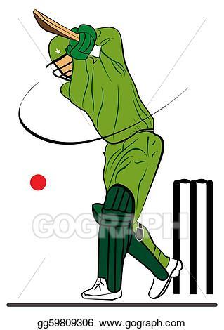 Cricketer stock . Cricket clipart illustration
