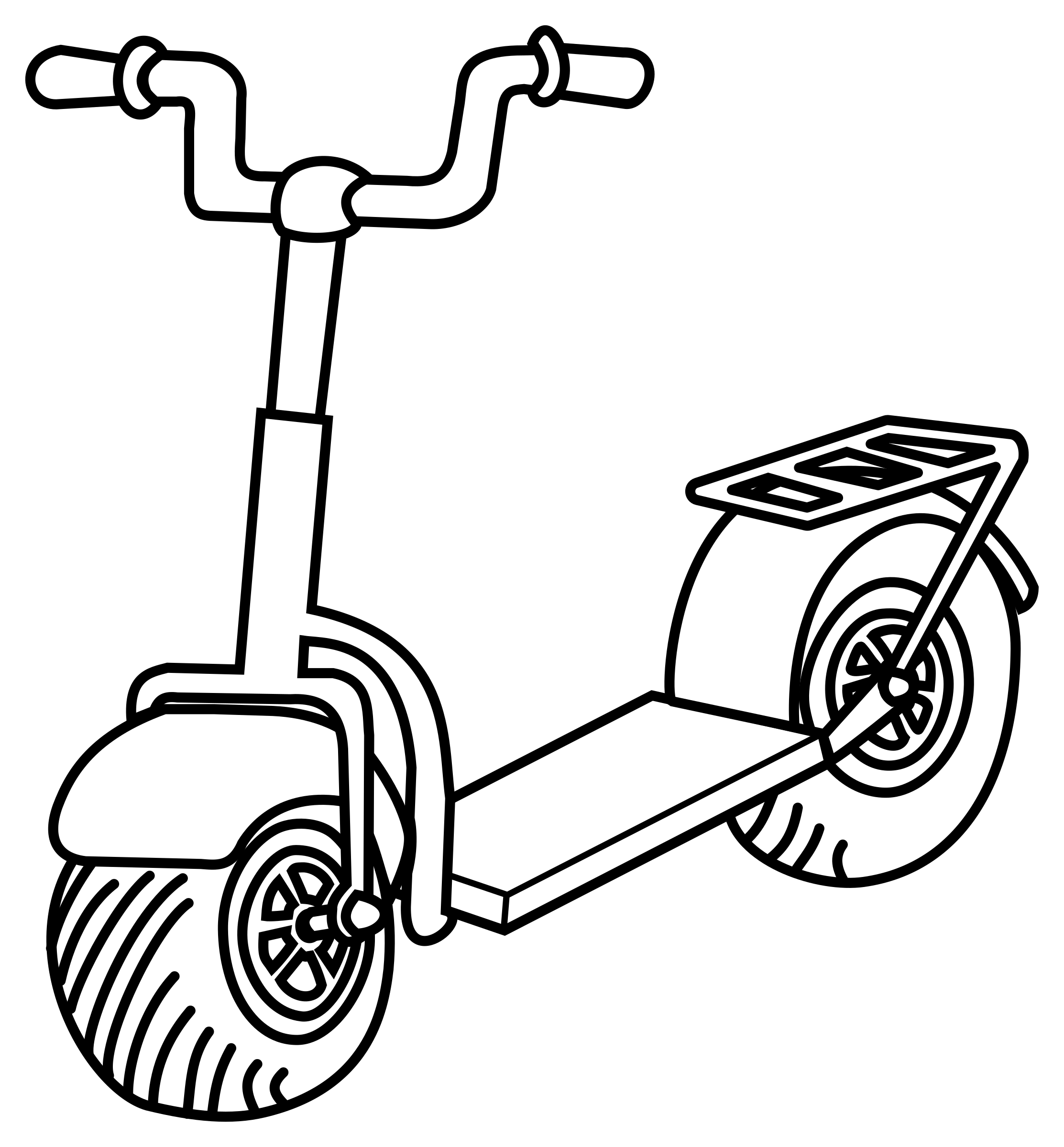 Wheel clipart drawing. Scooter kid free on
