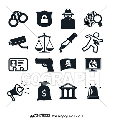 Vector art icons drawing. Crime clipart