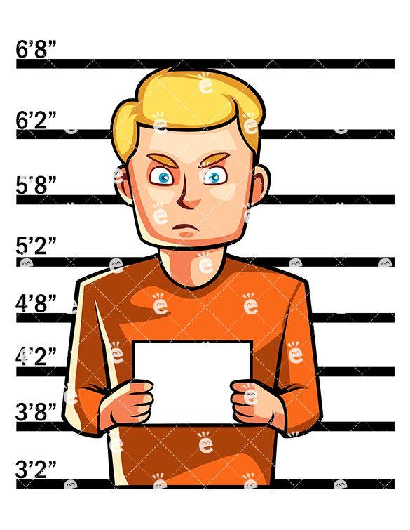 Just arrested man posing. Crime clipart captured