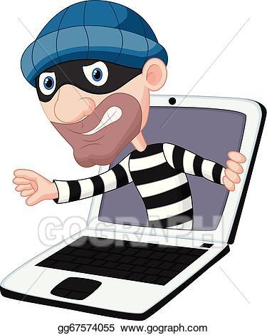 Criminal clipart computer crime. Vector stock cartoon clip