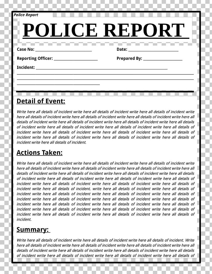 Template police document form. Crime clipart crime report