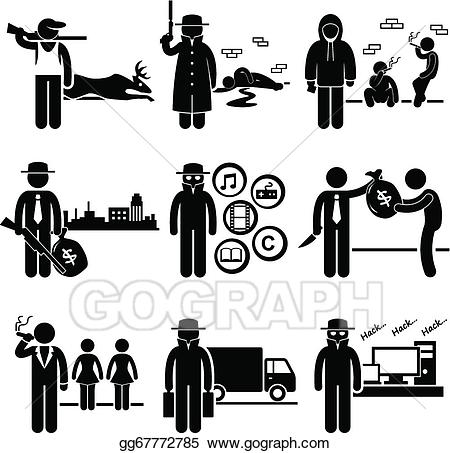 Eps illustration illegal activity. Criminal clipart organized crime