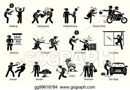 Criminal clipart crime violence. Vector art violent and