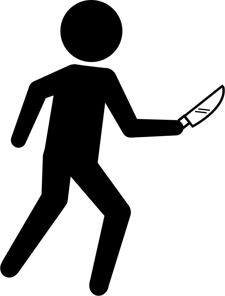 Crime clipart knife crime. Criminal silhouette with a