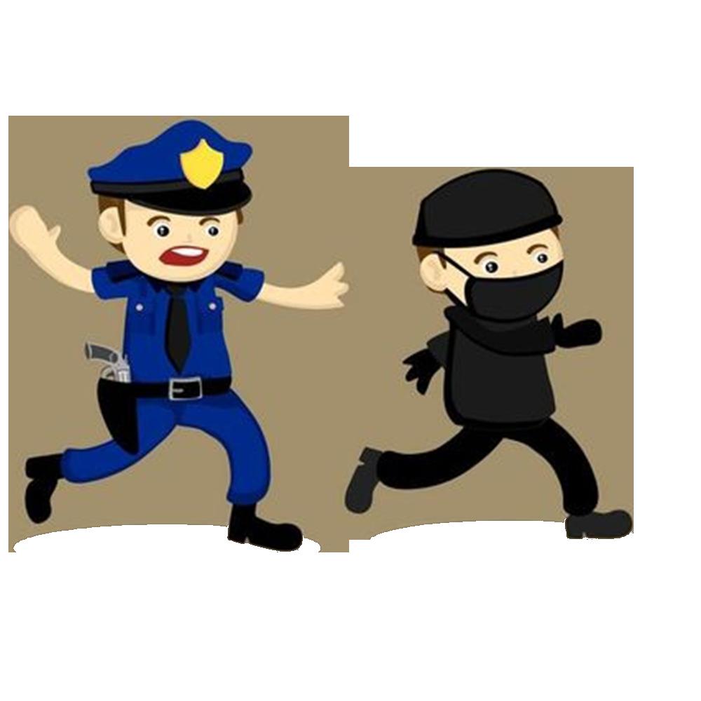 Officer crime illustration policeman. Police clipart robber