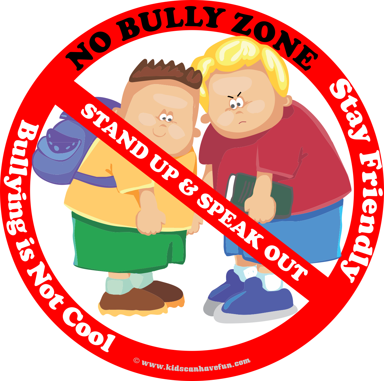 Yelling clipart verbal bullying. No bully zone poster