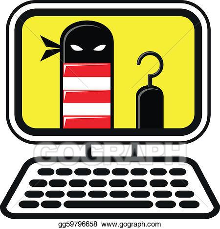 Vector illustration cyber stock. Criminal clipart computer crime