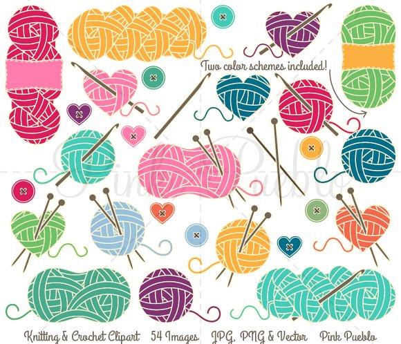 Knitting vectors illustrations creative. Crochet clipart