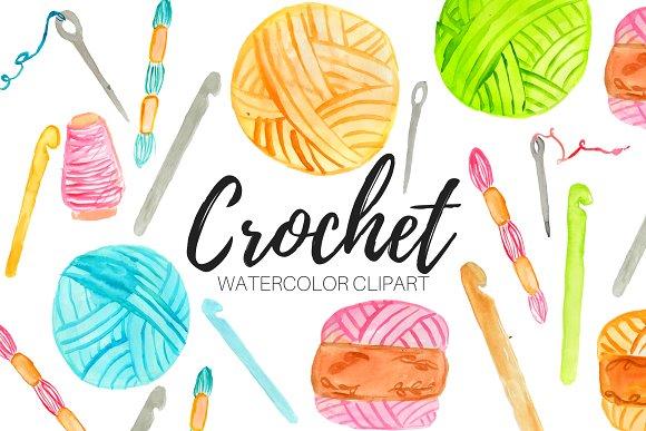 Crochet clipart. Watercolor illustrations creative market