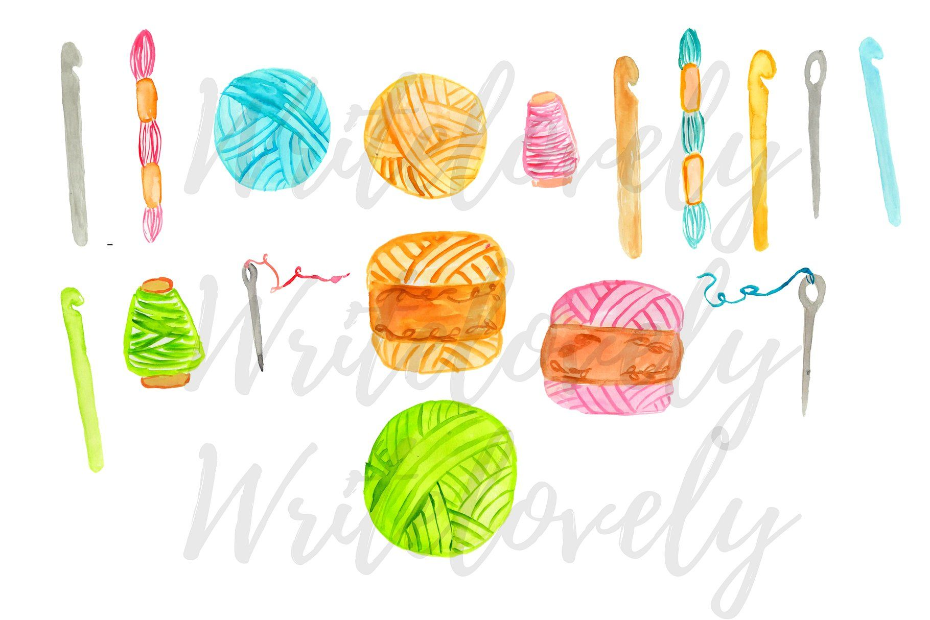 Watercolor backgrounds perfect sticker. Crochet clipart background