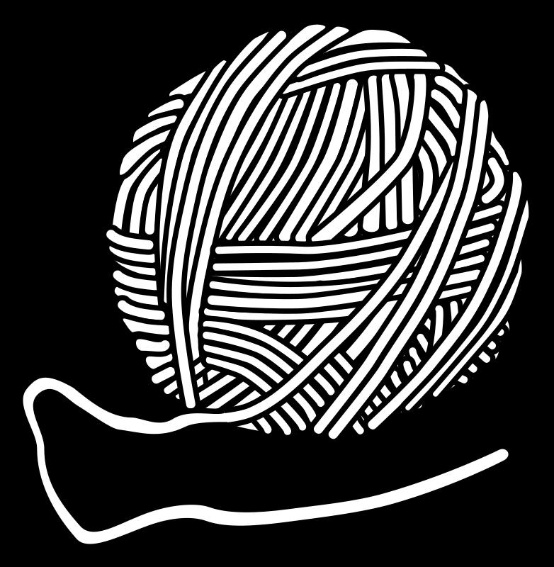 Wool lineart. Needle clipart knitting needle