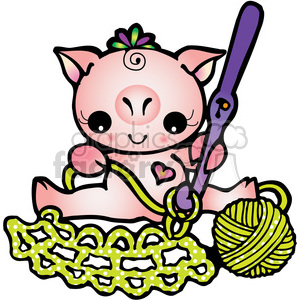 Crochet clipart cartoon. Pig royalty free