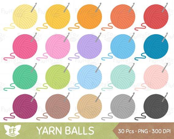 Yarn ball clip art. Crochet clipart colorful