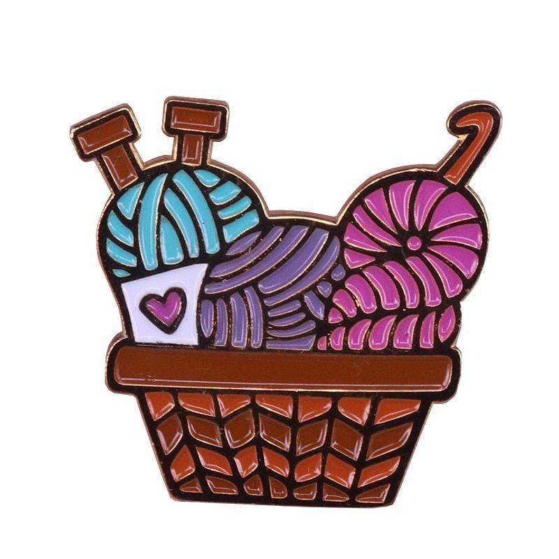 Yarn basket hard enamel. Crochet clipart craft group