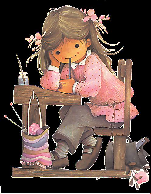 La petite coli re. Crochet clipart girl knitting