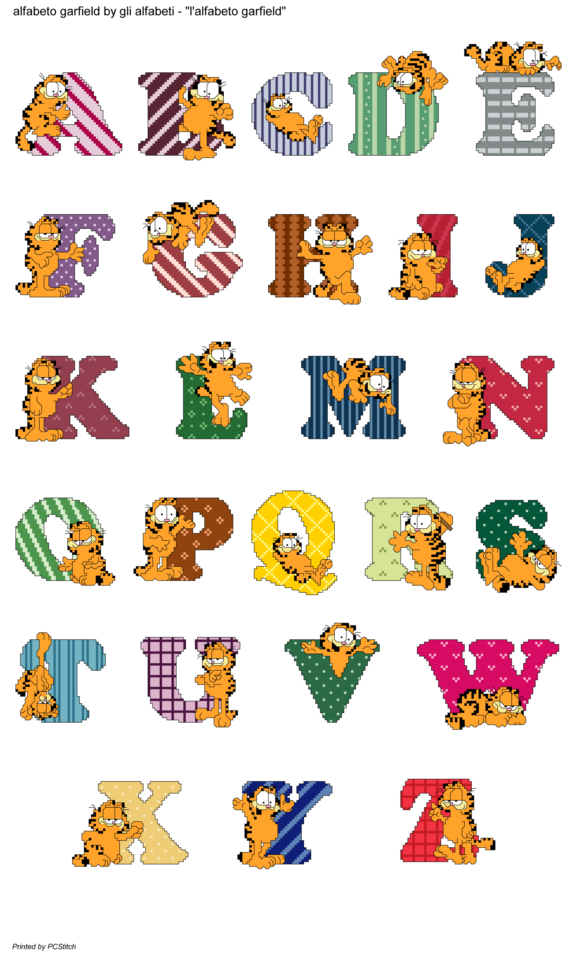 Alfabeto garfield kirjaimet numerot. Stitch clipart cross stitch