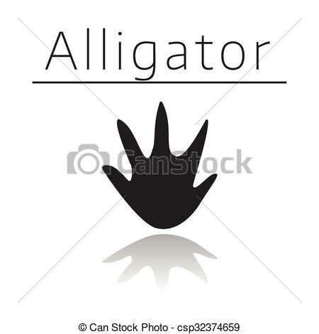 Black and white free. Footprint clipart crocodile