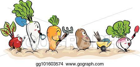 Vector art mascot root. Crops clipart