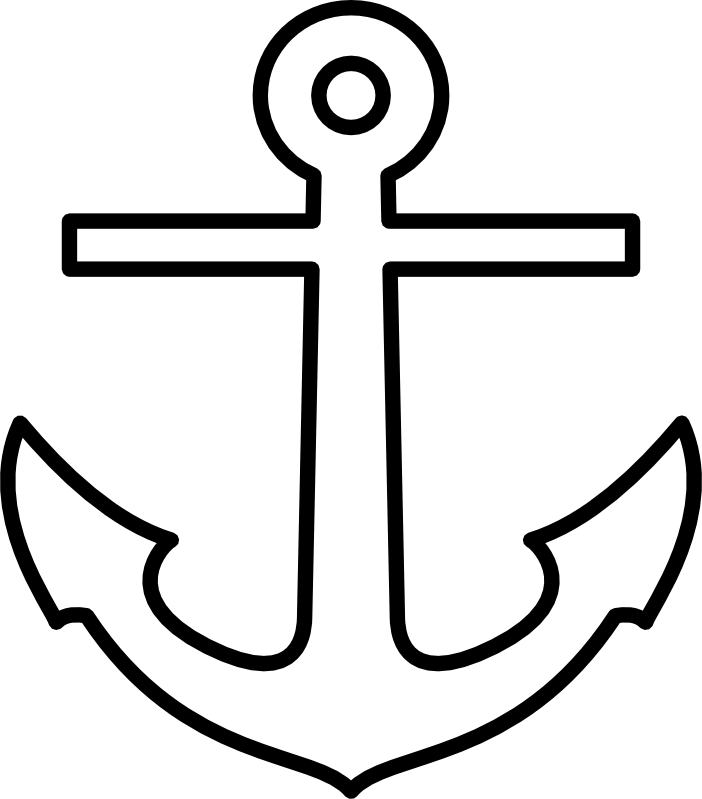 Black and white clip. Clipart free anchor