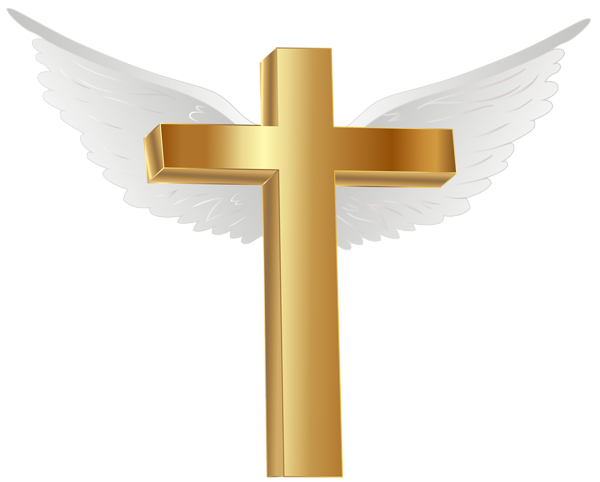 Gold with angel wings. Cross clip art decorative cross