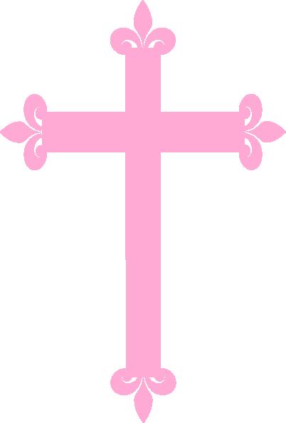 Pink fleur di lis. Cross clip art decorative cross