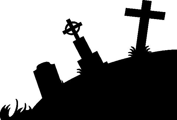 Graveyard at clker com. Cross clip art silhouette